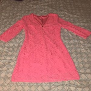 Lilly Pulitzer Pink Lace V-Neck Shift Dress
